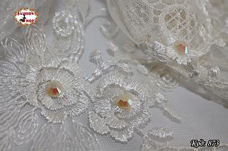Свадебный кремовый платок со стразами Николь, фото 2