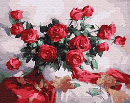 Картина по Номерам Букет алых роз 40х50см RainbowArt