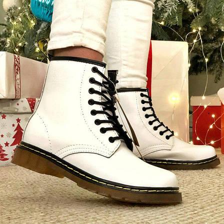 Женские зимние ботинки в стиле Dr. Martens 1460 White с мехом, фото 2