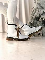 Женские зимние ботинки в стиле Dr. Martens 1460 White с мехом, фото 3