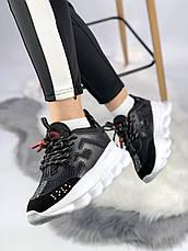 Женские кроссовки в стиле Versace Chain Reaction Black/White, фото 3