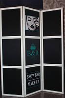 Ширма для MAKE-UP студий и BROW BAR с фотопечатью.