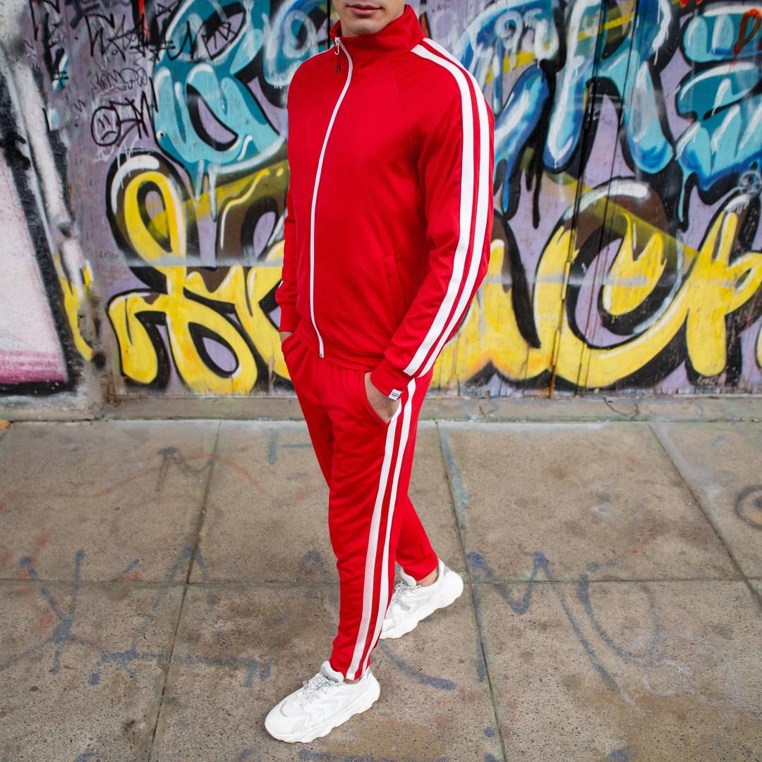 """Спортивний костюм Pobedov """"Easy money"""" Мужской красный с лампасами зима. Олимпийка красная, штаны красные"""