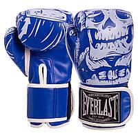Перчатки боксерские FLEX на липучке EVERLAST SKULL синие BO-5493, 8 унций