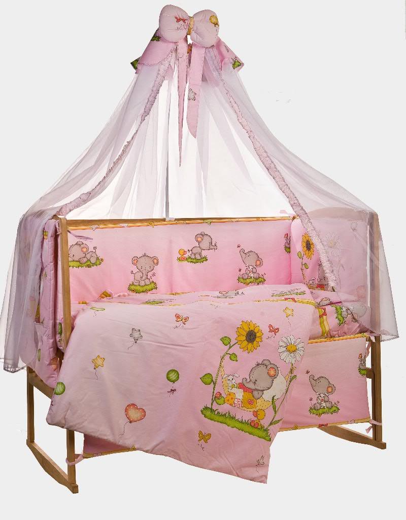 """Комплект детского постельного белья """"Слоник розовый"""", ткань хлопок"""