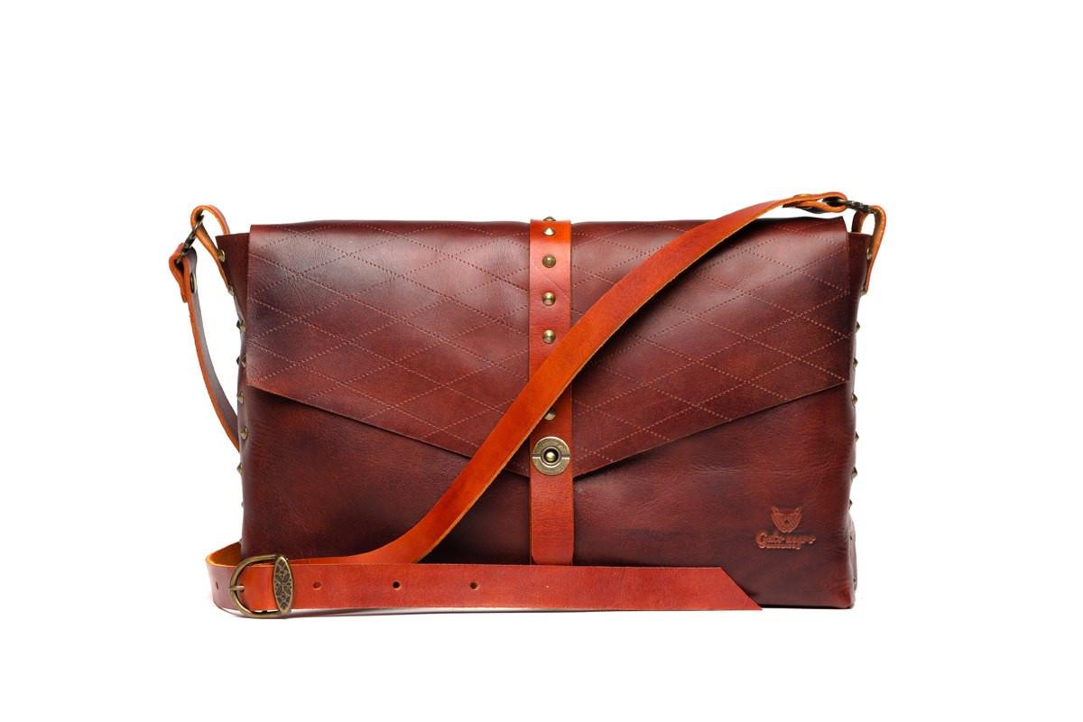 d5b49eb16349 Кожаная сумка женская Gato Negro коричневая (кожаная сумка через плечо, стильные  сумки) -