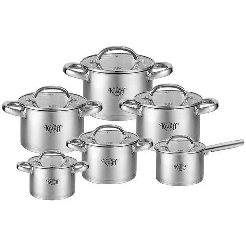 Набор кухонной посуды Krauff из нержавеющей стали 12 предметов с толстым дном (26-242-045)