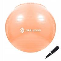 Мяч для фитнеса (фитбол) шар Springos 55 см Anti-Burst FB0010 оранжевый. Гимнастический мяч