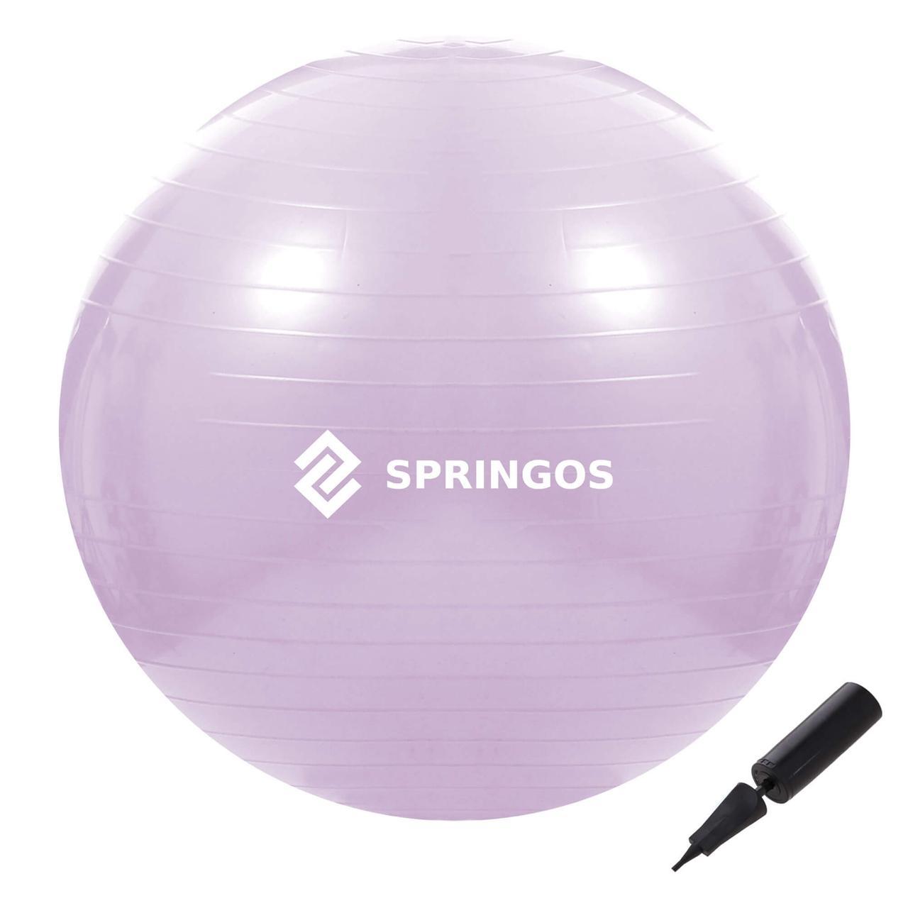 Мяч для фитнеса (фитбол) шар Springos 65 см Anti-Burst FB0011 фиолетовый. Гимнастический мяч