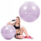 Мяч для фитнеса (фитбол) шар Springos 65 см Anti-Burst FB0011 фиолетовый. Гимнастический мяч, фото 9