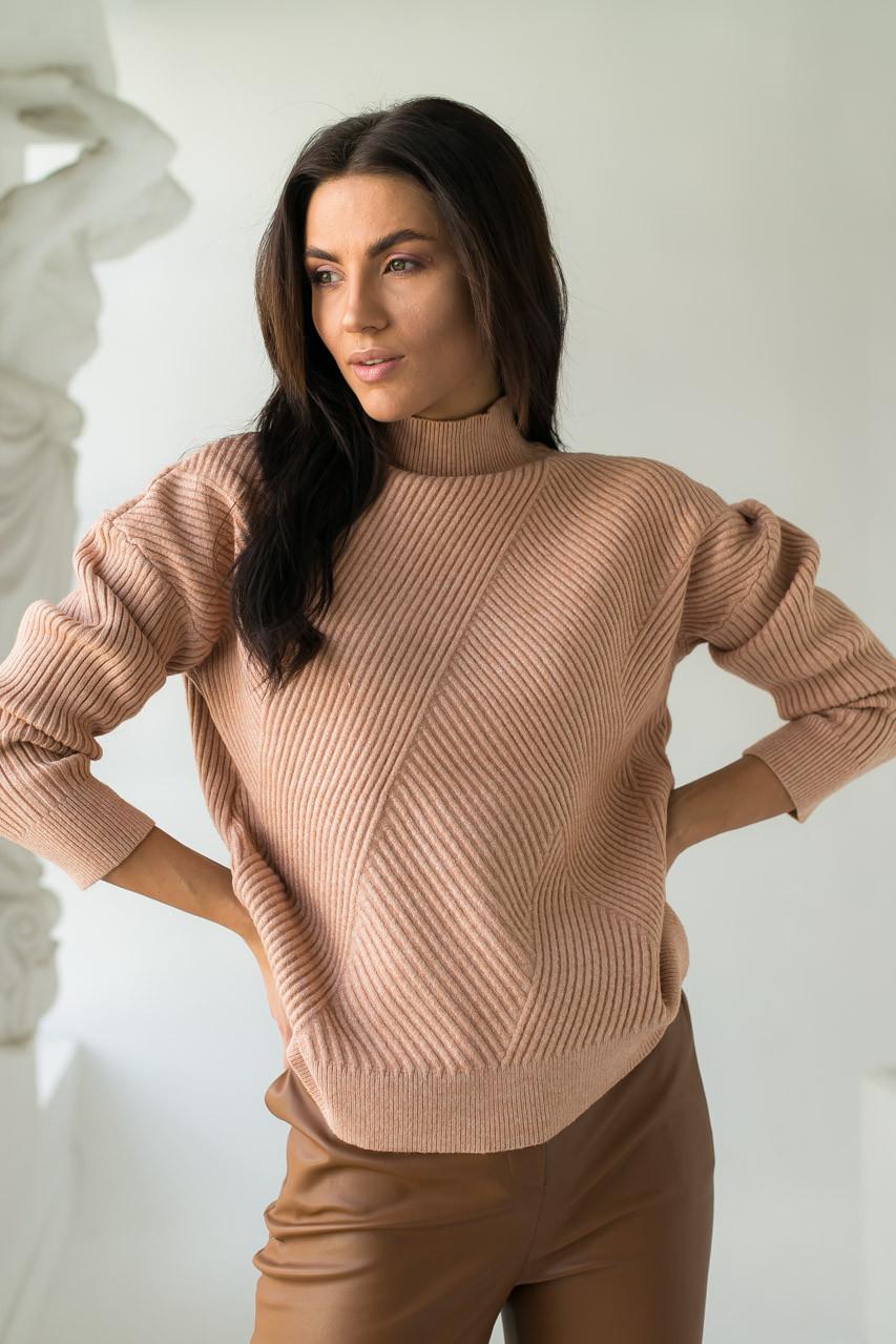 Стильный свитер с геометрическим узором P-M - кофейный цвет, XL/XXL (есть размеры)