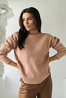 Стильный свитер с геометрическим узором P-M - кофейный цвет, XL/XXL (есть размеры), фото 1