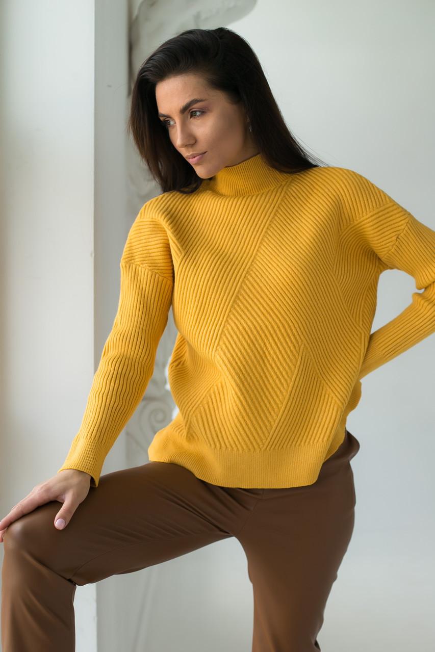 Стильный свитер с геометрическим узором P-M - горчичный цвет, XXL/XXXL (есть размеры)