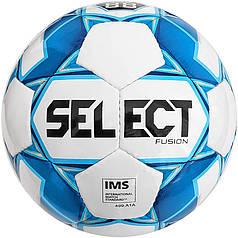 Мяч футбольный SELECT Fusion IMS (012) бел/голуб, размер 5