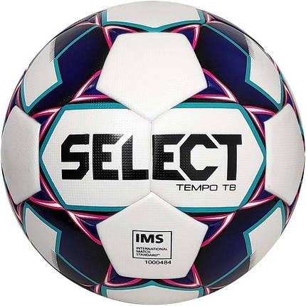 Мяч футбольный SELECT Tempo IMS (012) бело/фиолетовый р.5, фото 2