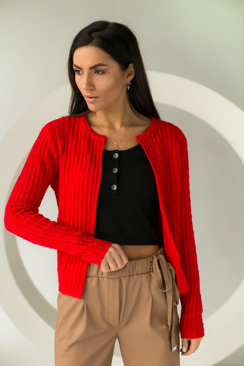 Короткий кардиган со стильным узором P-M - красный цвет, XL/XXL (есть размеры)