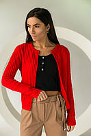 Короткий кардиган со стильным узором P-M - красный цвет, XL/XXL (есть размеры), фото 1