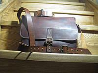 Кожаная сумка мужская Gato Negro коричневая (кожаная сумка через плечо, стильные сумки)