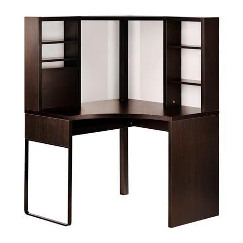 ИКЕА (IKEA) МИККЕ, 502.447.41, Угловой стол, черно-коричневый, 100x141 см - ТОП ПРОДАЖ