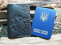 Обложка на паспорт кожаная Gato Negro черная (обложка на паспорт из натуральной кожи, ручной роботы)