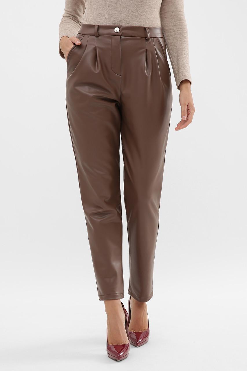Теплые брюки из эко-кожи