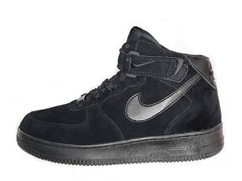 Мужские зимние кроссовки Nike Air Force 1 High (Premium-class) черные с мехом