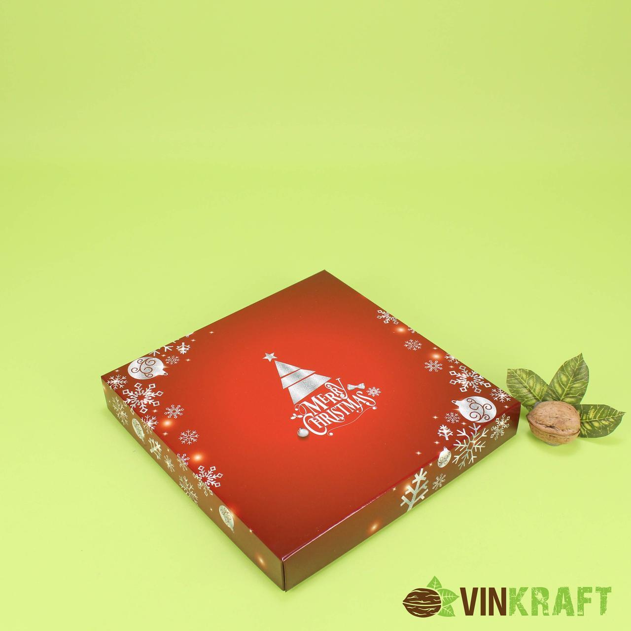 """Коробка 200*200*30 для цукерок (16 шт) """"Новорічна"""" бордо"""