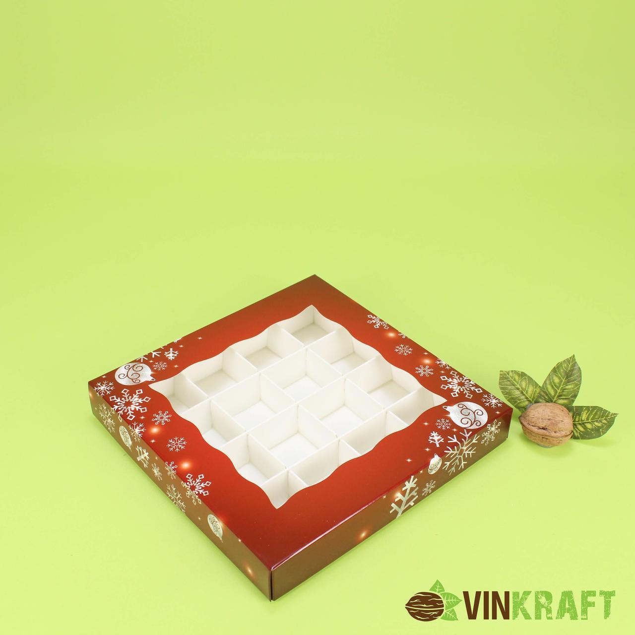"""Коробка 200*200*30 для цукерок з вікном (16 шт) """"Новорічна"""" бордо"""