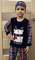 Пижама турецкая детская мальчику , махра+флисс с мишкой супер качество от 4 до 13 лет с маской для сна