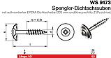 WS 9173 : нержавеющий шуруп с полупотайной головкой с шайбой EPDM, диаметром 20 мм, фото 2