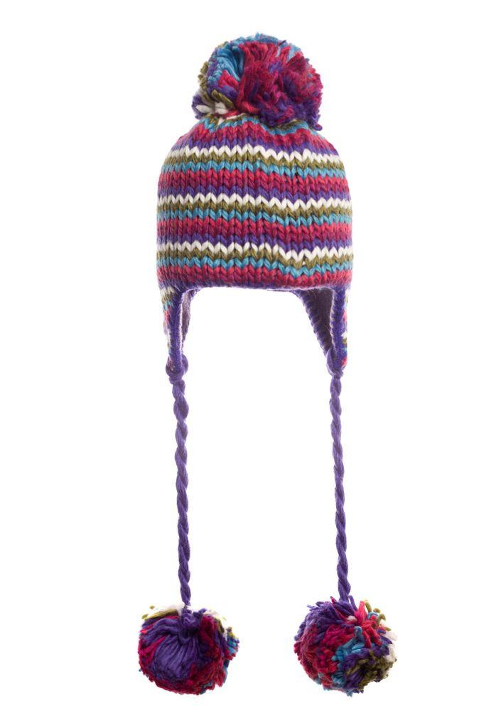 Шапка модная вязаная  подростковая бордово-фиолетовая.