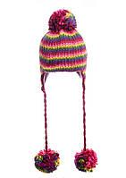 Шапка стильная вязаная на девочку-подростка малиново-фиолетовая.