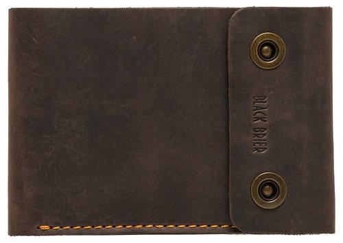 Дорожное кожаное портмоне на кнопках Black Brier ТК-2-33 коричневый