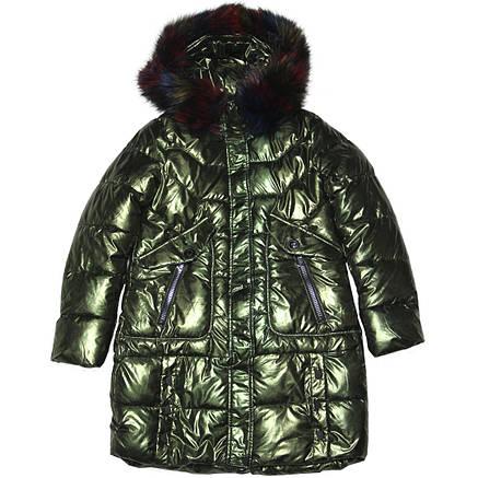 Зимнее стеганое подростковое блестящее пальто для девочки 164 рост хаки, фото 2