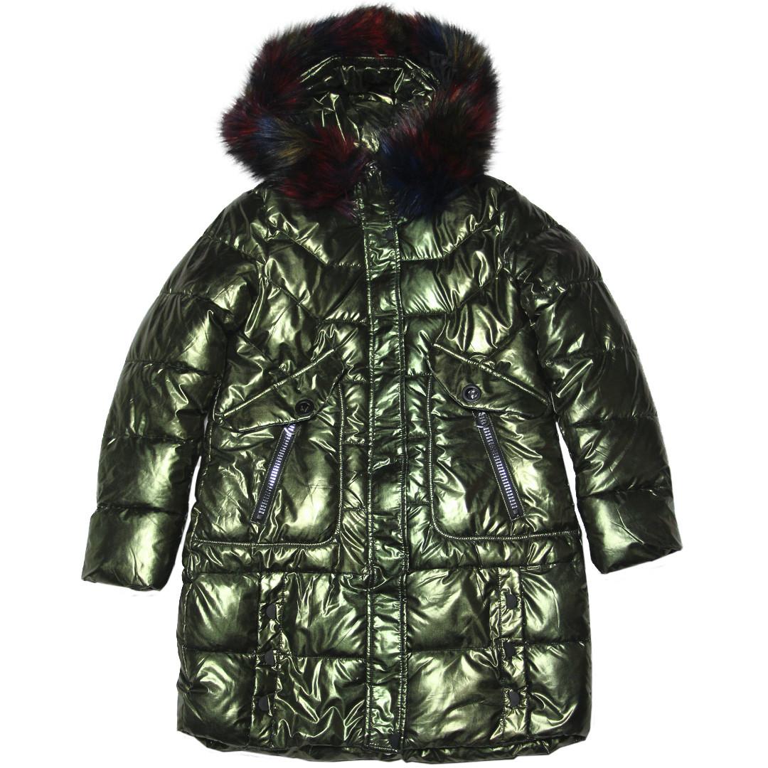 Зимнее стеганое подростковое блестящее пальто для девочки 164 рост хаки
