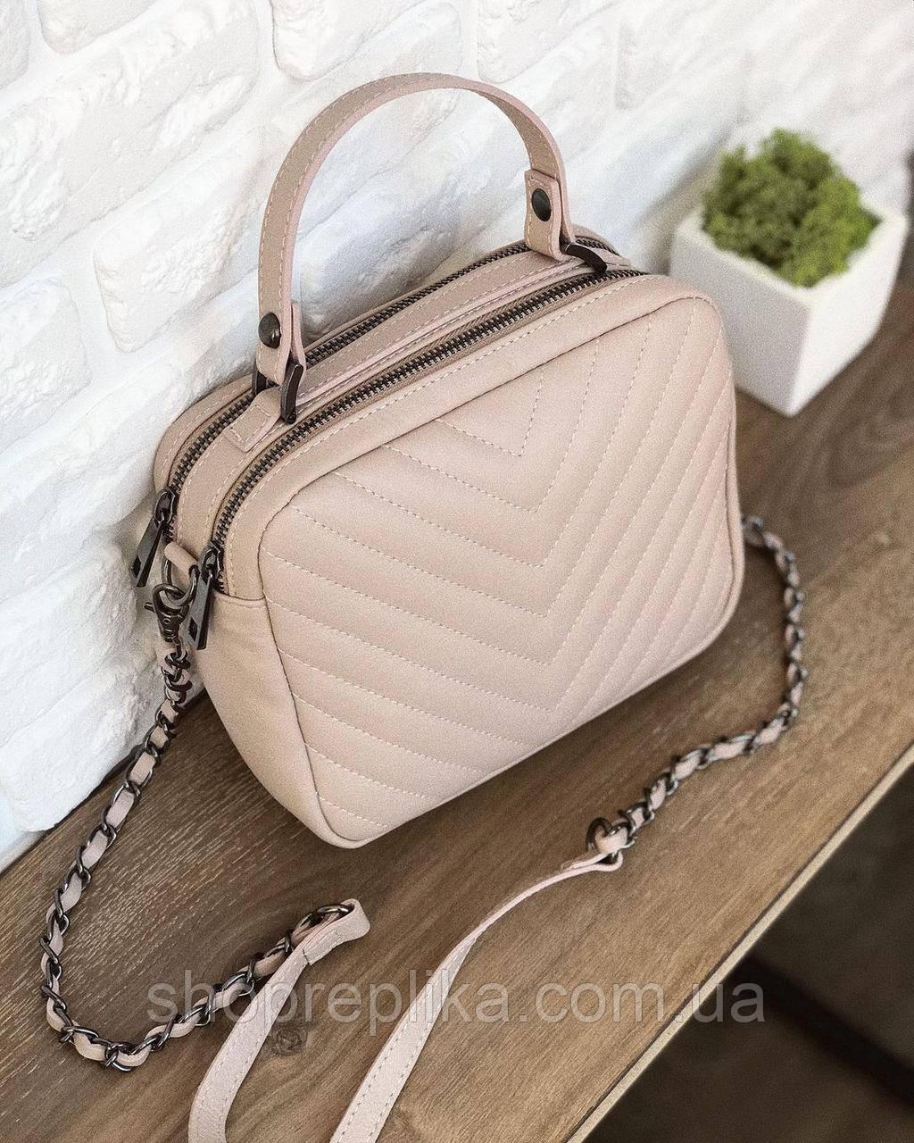 Маленькая пудровая кожаная сумка женская Италия Люкс Шкіряна сумка через плече , клатч Сумки женские пудрового
