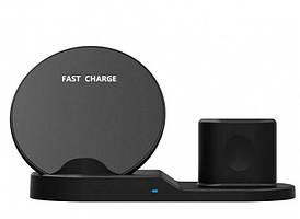 Док-станция беспроводная 3 в 1 wireless fast charger ABX 5750 Черный