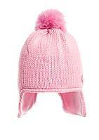 Шапочка розовая вязаная для девочки  на флисе.