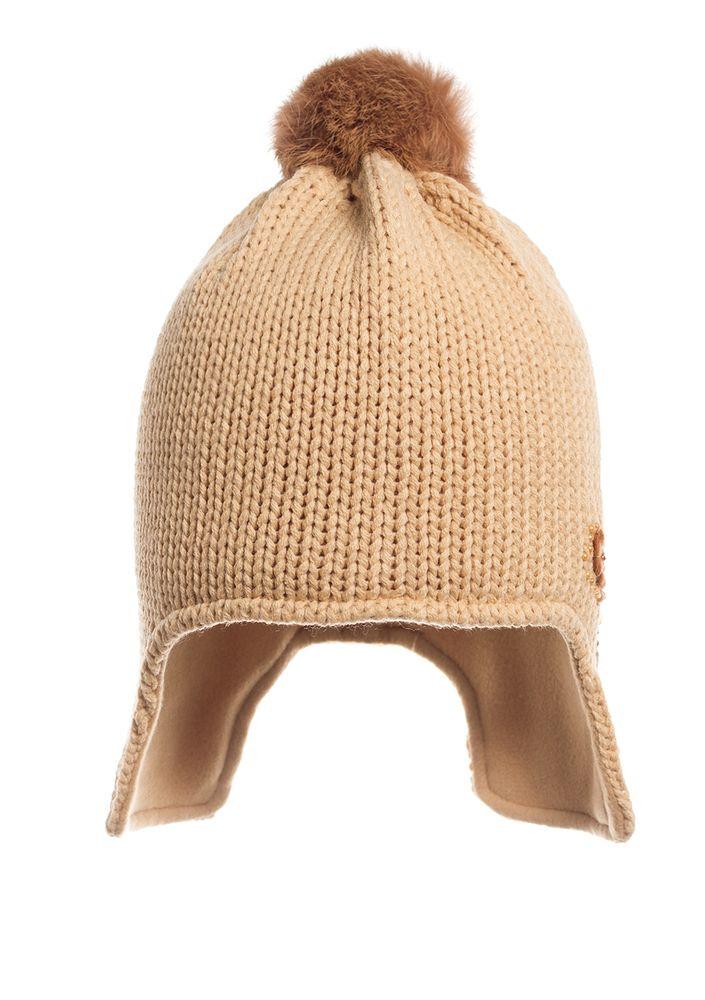 Шапка удобная теплая вязаная  на флисе, песочная.