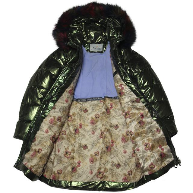 модное стильное блестящее пальто зимнее для девочки