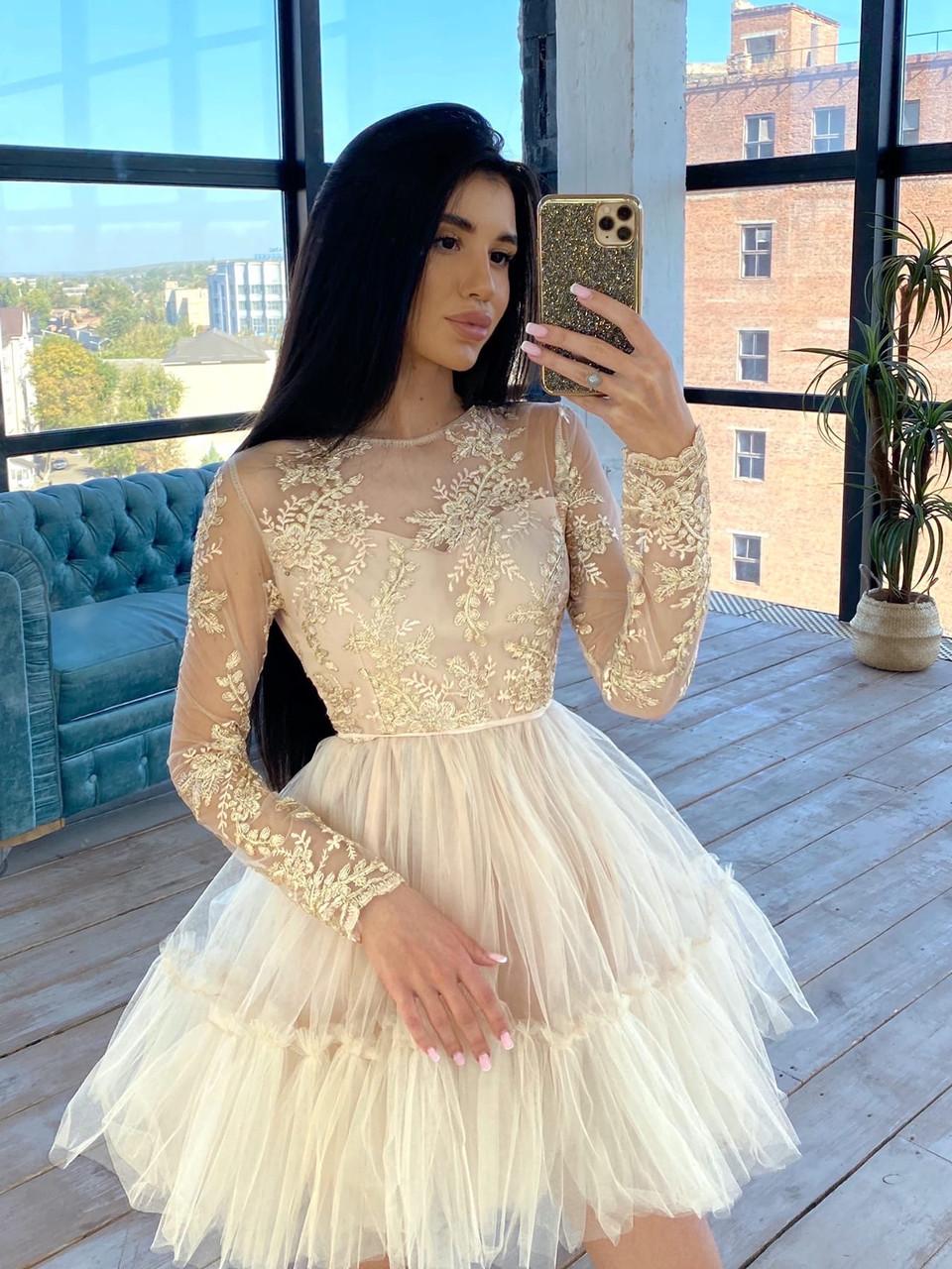 Пышное короткое платье с фатиновой юбкой и кружевным верхом с длинным рукавом (р. S, M) 66031766Е