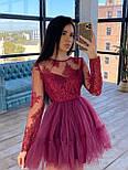 Пышное короткое платье с фатиновой юбкой и кружевным верхом с длинным рукавом (р. S, M) 66031766Е, фото 4