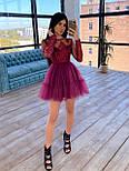 Пышное короткое платье с фатиновой юбкой и кружевным верхом с длинным рукавом (р. S, M) 66031766Е, фото 5