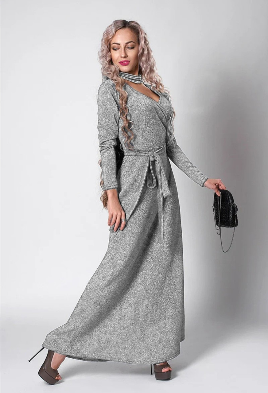 Платье мод 724-4 ,размер 46,48,50 серый люрекс