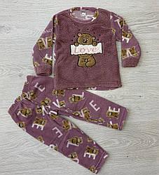 Пижама теплая для девочек, флис, Турция, арт. 3533
