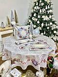 """Наперон\дорожка на стол  """"Квітчасте Різдво"""", люрекс, 37х100 см, фото 3"""