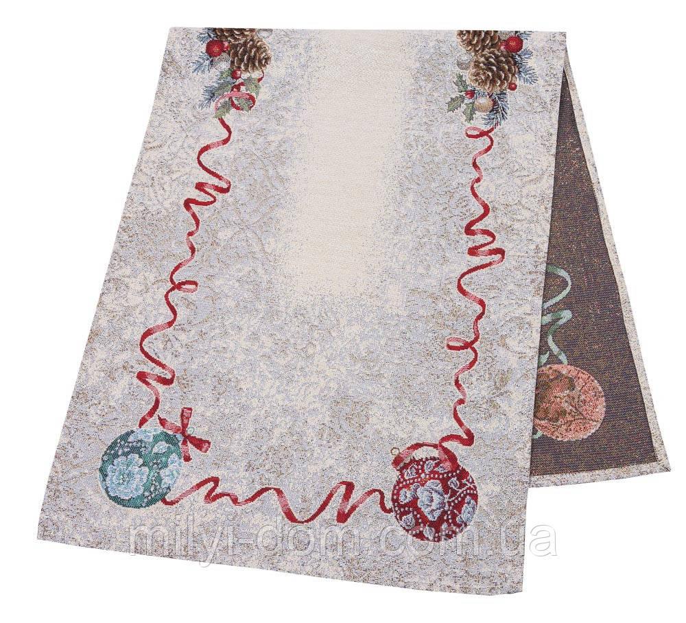 """Наперон\дорожка на стол  """"Квітчасте Різдво"""", люрекс, 37х100 см"""