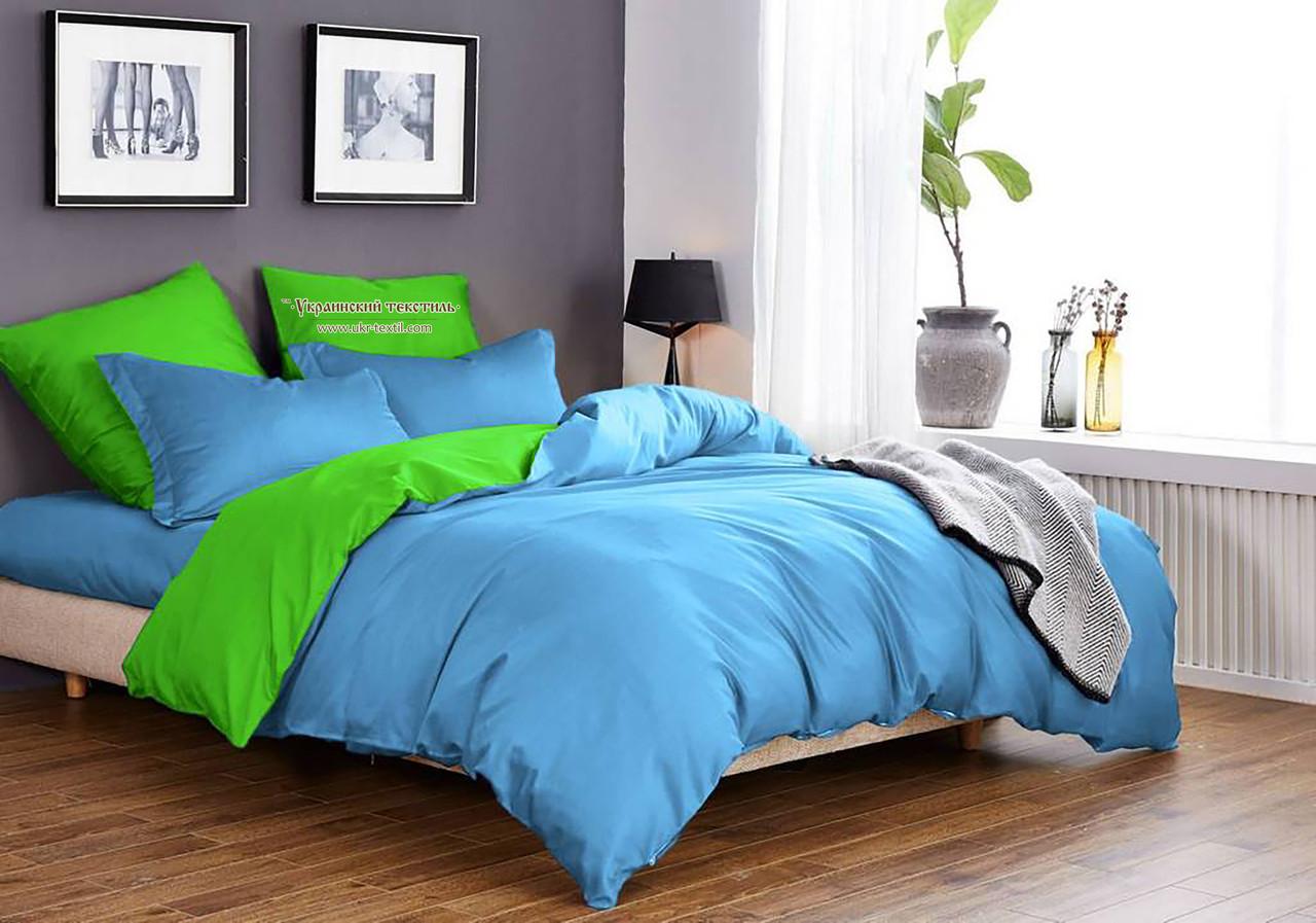 Комплект постельного белья Микрофибра Салатово - голубой однотонный двухсторонний
