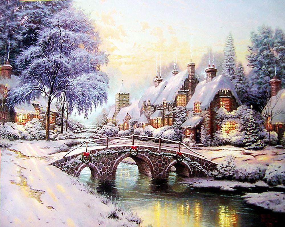 Алмазная вышивка мозаика Чарівний діамант Сказочная зима. Рождество КДИ-0519 40х50см 25цветов квадратные