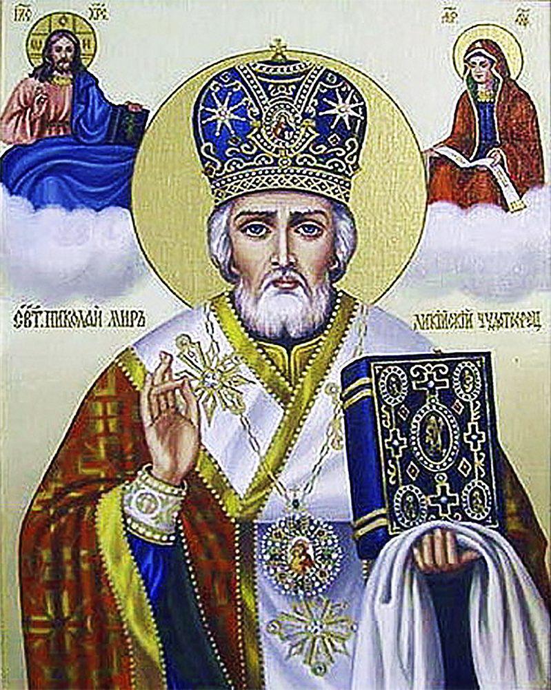 Алмазная вышивка мозаика Чарівний діамант икона Святой Николай Чудотворец-2 КДИ-0530 40х50см 26цветов